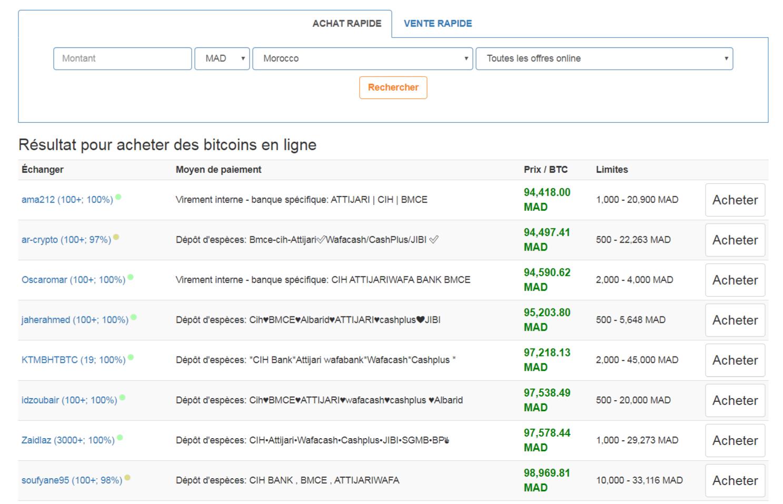 Offre de vente de bitcoins au Maroc